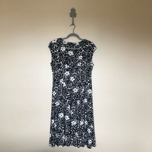 Chaps black and cream floral dress